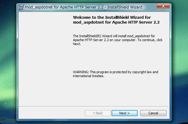 「mod_aspdotnet-2.2.0.2006-setup-r2.msi」を起動