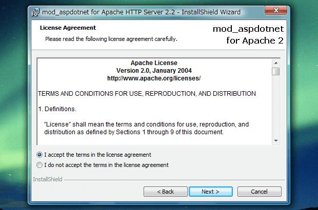 「mod_aspdotnet-2.2.0.2006-setup-r2.msi」のLicense Agreement
