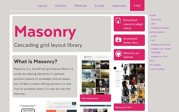 jQueryプラグイン Masonry